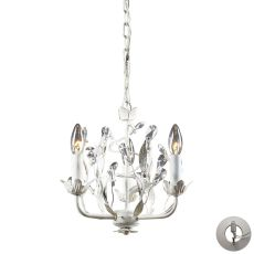 Circeo 3 Light Chandelier In Antique White - Includes Recessed Lighting Kit