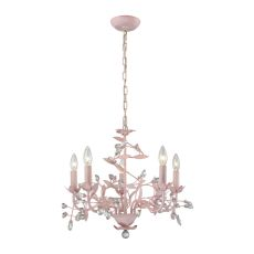 Circeo 5 Light Chandelier In Light Pink