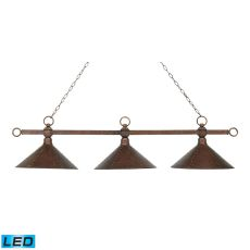 Designer Classic 3 Light Led Billiard In Antique Copper With Hand Hammered Iron Shades