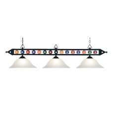 Designer Classics 3 Light Billiard In Matte Black And White Glass