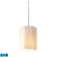 Modern Organics 1 Light Led Pendant In Polished Chrome And White Sawgrass