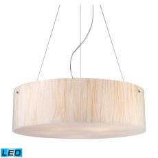 Modern Organics 5 Light Led Pendant In Polished Chrome And White Sawgrass