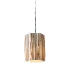Modern Organics 1 Light Pendant In Polished Chrome And Bamboo Stem