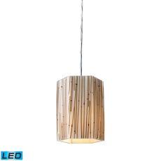 Modern Organics 1 Light Led Pendant In Polished Chrome And Bamboo Stem