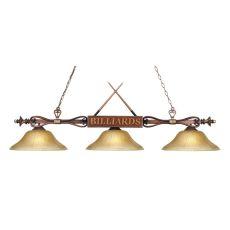 Designer Classics 3 Light Billiard In Wood Patina And Amber Gratina Glass