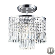 Optix 1 Light Flushmount In Polished Chrome And Clear Crystal - Includes Recessed Lighting Kit
