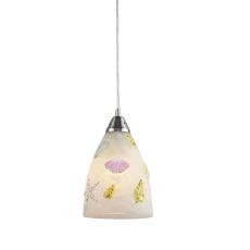 Seashore 1 Light Led Pendant In Satin Nickel And Hand Painted Glass