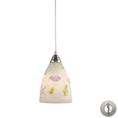 Seashore 1 Light Pendant In Satin Nickel And Hand Painted Glass - Includes Recessed Lighting Kit