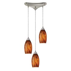Galaxy 3 Light Pendant In Brown And Satin Nickel