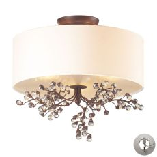 Winterberry 3 Light Semi Flush In Antique Darkwood - Includes Recessed Lighting Kit