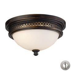 Flushmounts 2 Light Flushmount In Deep Rust And Opal White Glass - Includes Recessed Lighting Kit