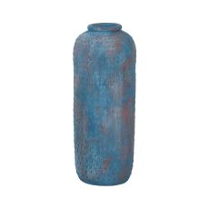 Rustic Blu Vase I In Distressed Blue, Blue