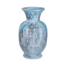 Rustic Blu Vase Iii In Distressed White And Blue With Teardrop Pattern