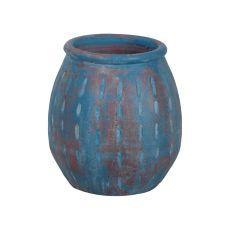 Rustic Blu Vase Iv In Distressed Blue With Teardrop Pattern, Blue