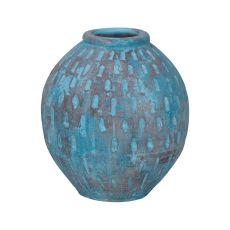 Rustic Blu Base V In Distressed Light Blue With Teardrop Pattern, Light Blue