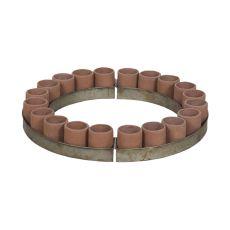 Terra Cotta Tea Light Ring In Natural Terra Cotta And Aged Tin, Terracotta