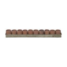 Terra Cotta Tea Light Ring In Natural Terra Cotta And Aged Tin, Terracotta
