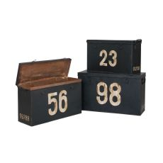 Antique Tin Boxes In Signature Black With White Graphics - Set Of 3