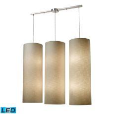 Fabric Cylinder 12 Light Led Pendant In Satin Nickel