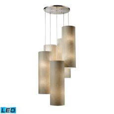 Fabric Cylinder 20 Light Led Pendant In Satin Nickel