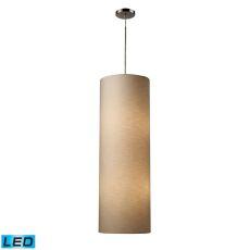 Fabric Cylinder 4 Light Led Pendant In Satin Nickel