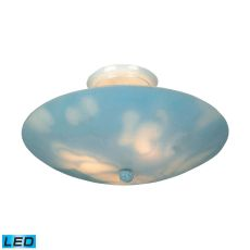 Kidshine 3 Light Led Semi Flush With Cloud-Themed Glass