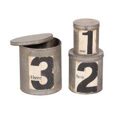Round Metal Nesting Tins, Rustic Tin