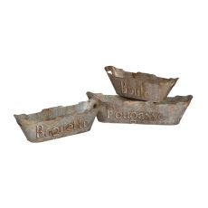 Tin Bread Baskets, Aged Metal