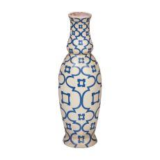 European Checkerboard Vase, Blue, White