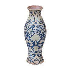 European Damask Vase, Blue, White