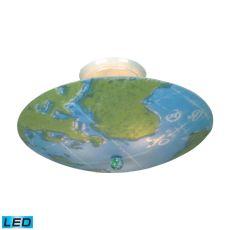 Kidshine 3 Light Led Semi Flush With World Map Glass