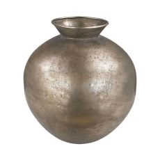 Bulbous Metal Vase, Natured Aged