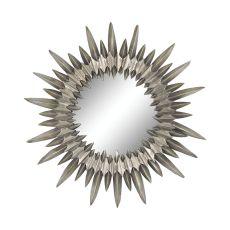 Sunburst Mirror In Aged Silver, Aged Silver
