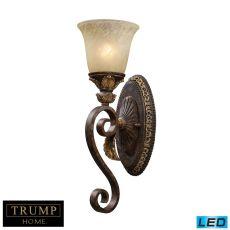 Regency 1 Light Led Vanity In Burnt Bronze And Gold Leaf