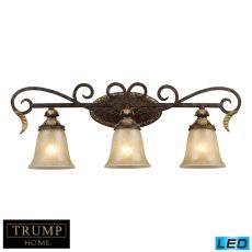 Regency 3 Light Led Vanity In Burnt Bronze And Gold Leaf
