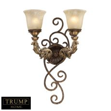 Regency 2 Light Wall Sconce In Burnt Bronze And Gold Leaf