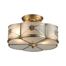 Preston 2 Light Semi Flush In Brushed Brass