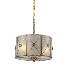 Preston 2 Light Pendant In Brushed Brass