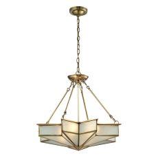 Decostar 4 Light Pendant In Brushed Brass