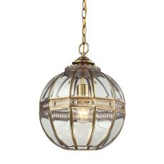 Randolph 1 Light Pendant In Brushed Brass And Clear Glass