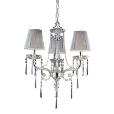 Princess 3 Light Chandelier In Polished Silver With Silk String Shades