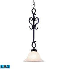 Buckingham 1 Light Led Pendant In Matte Black And White Faux Marble Glass