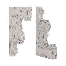 Carved Fleur-De-Lis Corbels - Set Of 2, Vintage Blanc