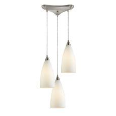 Vesta 3 Light Pendant In Satin Nickel And White Glass