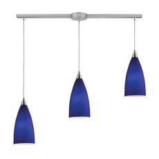 Vesta 3 Light Pendant In Satin Nickel And Royal Blue Glass