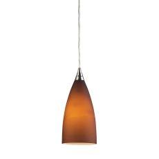 Vesta 1 Light Led Pendant In Satin Nickel And Tobacco Glass