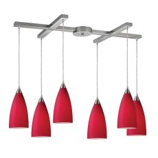Vesta 6 Light Pendant In Satin Nickel And Cardinal Red Glass