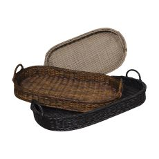 Oval Rattan Trays, Black, Brown