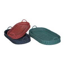 Oval Rattan Trays In Manor Tangerine And Blue Slate