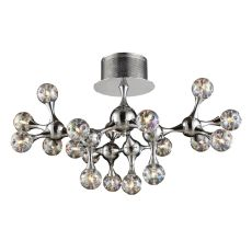 Molecular 18 Light Semi Flush In Chrome And Iridescent Glass